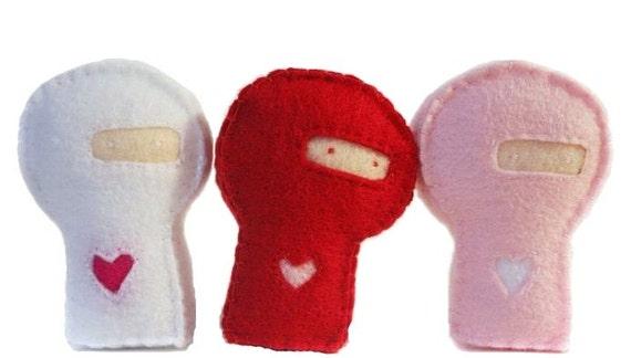 Custom Order/Reserved for kellyjsorensonTrio of felt Love ninjasx2