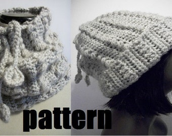 PATTERN - Tugharia Drawstring Slouchy Hat Pattern and Cowl Pattern-2 in 1 garment-PHOTO TUTORIAL-crochet slouchy beanie-pdf digital download