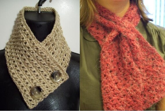 Knit Scarflette Pattern Free : Items similar to PATTERN - Nneoma Keyhole Scarflette Pattern and Chioma Scarf...
