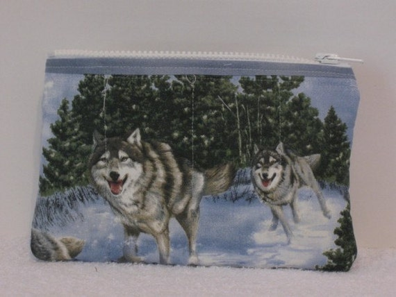 Travel Pouch..Treat Bag..Coin Pouch..Wolves