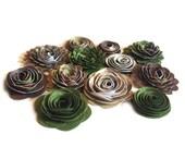 Handmade Spiral Flowers - As Seen In Bride's Magazine - 6/10 Sagebrush and Pine Trees- Set of 12