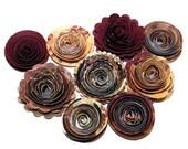 NEW Handmade Spiral Flowers Bordeaux Mix Set of 9