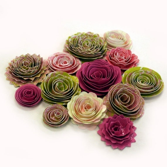 Handmade Spiral Flowers - Pink Kiwi - Set of 13