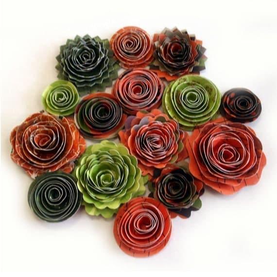 Handmade Spiral Flowers - Pumpkin Patch- Set of 15