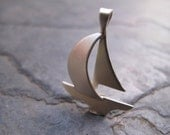 hand fabricated silver sailboat pendant- made to order