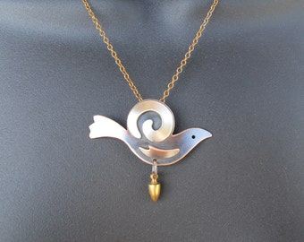 Siver Spiral and Copper Bird on brass chain- made to order