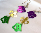Mardi Gras Earrings Comedy Tragedy Face Masks & Fleur De Lis Confetti Dangles Plastic Sequins