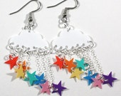 Raining Rainbow Earrings White Clouds with Rainbow Star Showers Dangling