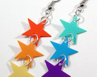 Rainbow Star Earrings Rainbow Colors Dangle Red Orange Yellow Green Blue Purple Plastic Sequin Jewelry