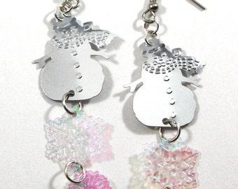 Christmas Earrings Silver Snowmen Earrings Iridescent Snowflake Dangles Plastic Sequin Jewelry