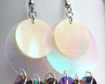 Sequin Earrings Clear Iridescent Circle Earrings Sparkle Plastic Sequins Dangle