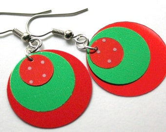 Christmas Earrings Round Ornaments Red & Green Dangles Plastic Sequins