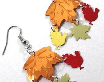 Thanksgiving Earrings Turkey Earrings Autumn Leaves Metallic Confetti Dangles Plastic Sequins