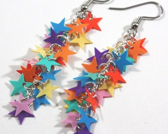 Rainbow Earrings Bright Colorful Stars Dangling Rainbow Star Earrings Red Orange Yellow Green Blue Pink Purple Confetti Plastic Sequins