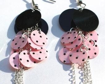 Sequin Earrings Pink & Black Polka dot Sterling Silver Chain Dangles Plastic Sequins