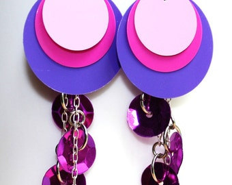 Purple & Pink Circle Sequin Earrings Sparkle Dangles Plastic Sequin Jewelry