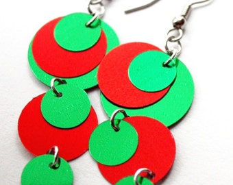 Christmas Earrings Green & Red Round Circle Dangles Plastic Sequin Jewelry
