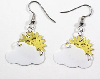 White Cloud Earrings Golden Sun Shining through Clouds Plastic Sequins