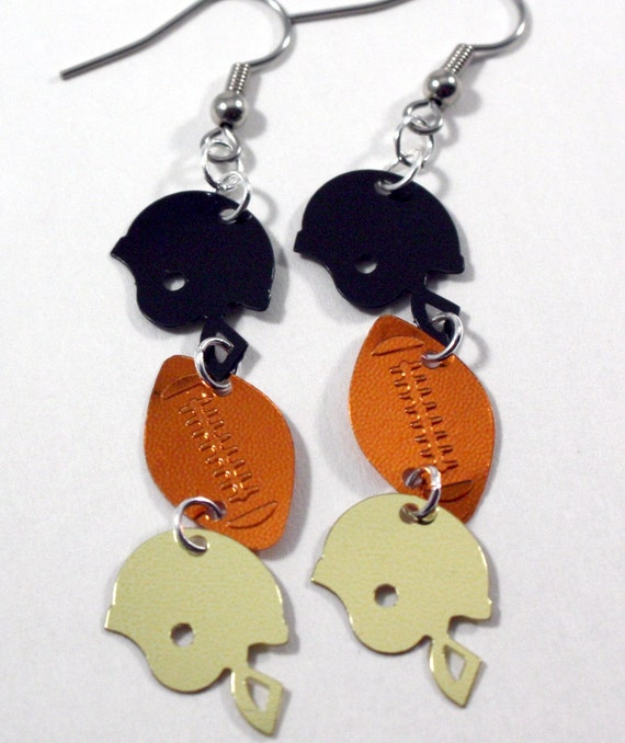 Football Earrings Black & Gold Helmet Dangles