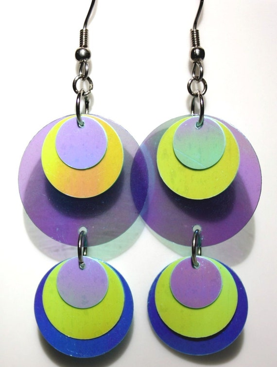 Sequin Earrings Round Paillette Earrings Green & Blue Iridescent Transparent Circle Drops Plastic Sequin Jewelry