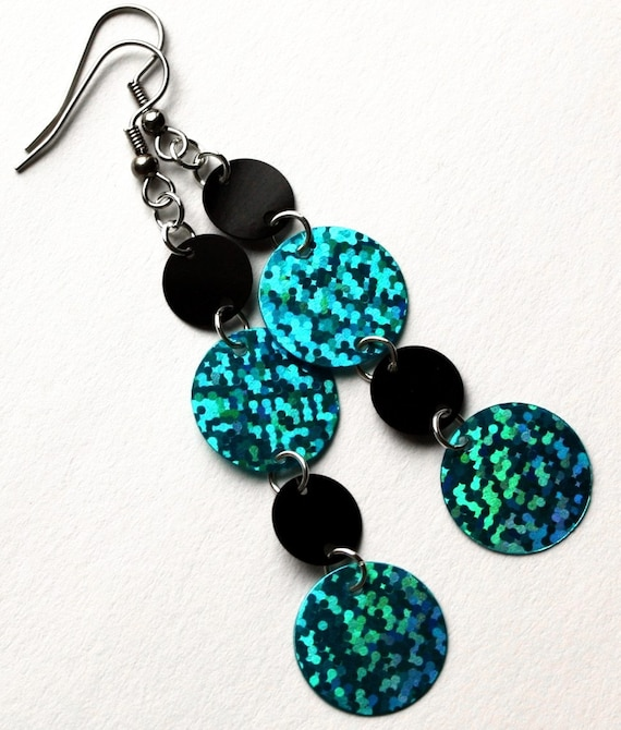 Sequin Earrings Black & Blue Hologram Circles Sparkly Dangles Plastic Sequin Jewelry