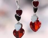 Valentine Jewelry Red Heart Earrings Black Wire Wrapped Dangle Sterling Silver Jewelry Valentine Earrings