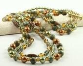 Multi Strand Necklace Green Copper Pearl Rhyolite Gemstone