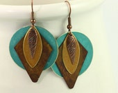 Southwestern Jewelry Earrings Teal Blue Gold Brass Patina Mixed Metal Boho Jewelry