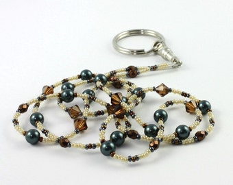 Blue ID Lanyard Pearl Badge Holder Bronze ID Necklace Office Fashion Crystal Beaded Lanyard Earth Tones Badge Leash Gift for Coworker, Boss