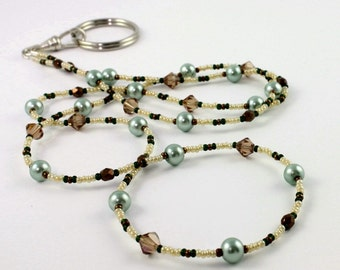Pearl ID Lanyard Green Badge Holder Topaz ID Leash Crystal ID Necklace Bronze Beaded Lanyard Office Fashion Gift for Boss, Coworker Gift