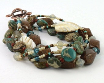 Aqua Terra Bracelet Southwest Blue Sky Jasper Mothers Day Unique Jewelry  Rustic Copper