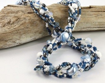 Sea Shell Pendant Multistrand Necklace Aquamarine Necklace White Bead Beach Jewelry Statement Necklace Aqua Blue Pearl Necklace Blue Shell