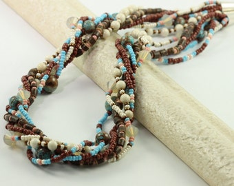 Bohemian Jewelry Coffee Lover Coconut Brown Multistrand Necklace Blue Sky Jasper Multi Strand Jewelry Opal Crystal Teal Statement Necklace