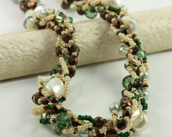 Tiger Iron Jewelry / Cream Pearl Necklace / Smoky Topaz Necklace / Jewelry for Her / Rustic and Earthy / Winter Accessory / Peridot Crystal