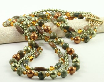 Multistrand Necklace Green and Copper Pearl Necklace Rhyolite Gemstone Statement Necklace Formal Occasion Jewelry Gift for Mom