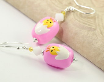 Easter Earrings Pink Yellow Chick White Crystal Egg Shaped Sterling Silver Easter Jewelry Mothers Day Jewelry