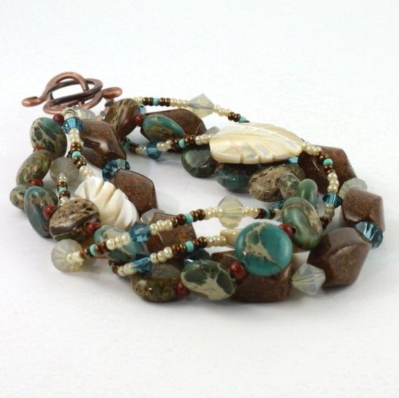 Aqua Terra Bracelet Southwest Blue Sky Jasper Mothers Day Unique Jewelry  Rustic Copper