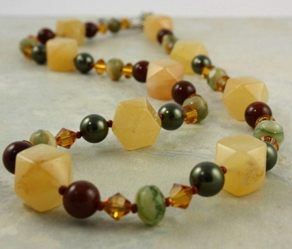 Yellow Jade Necklace Green Topaz Mahogany Obsidian Brown Gemstone Woodland