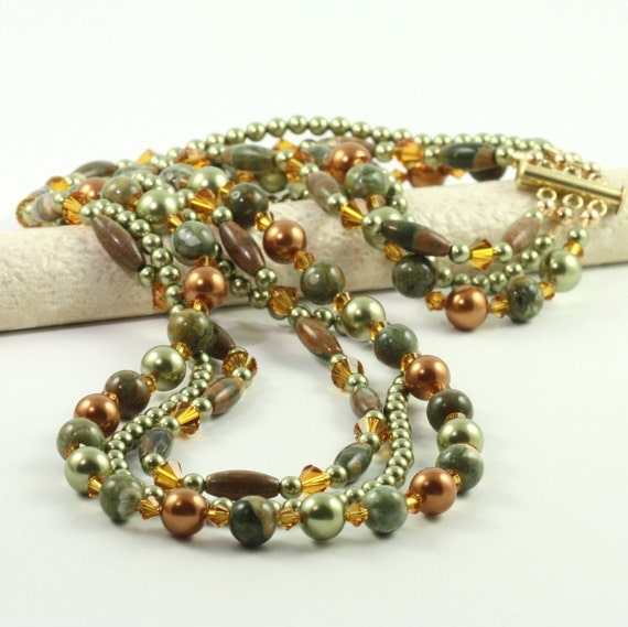 Multi Strand Necklace Green Copper Pearl Rhyolite Gemstone