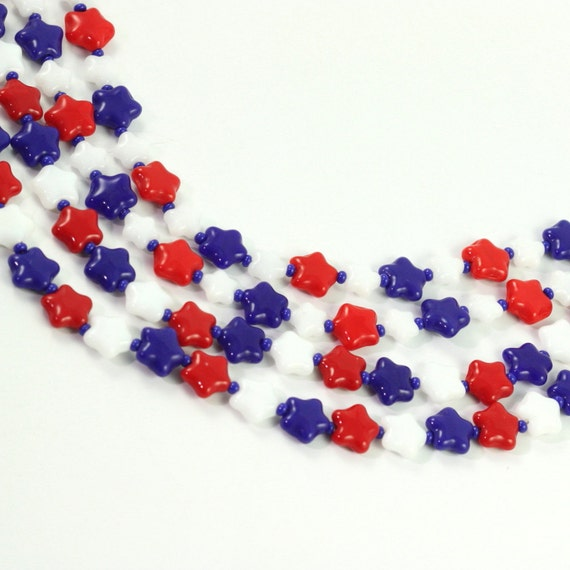 Labor Day Eyeglass Lanyard Patriotic Red White Blue USA Stars Beaded Veterans Day Americana Memorial Day Labor Day 4th of July