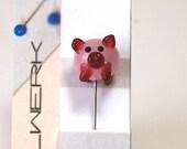 Cute Pig Pin Topper Glass