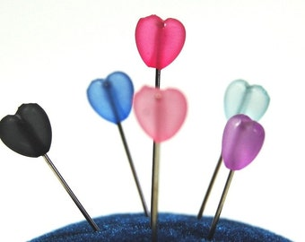 Heart Sewing Pins - Set of 8