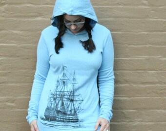 Black Ship Blue Pullover Hoody