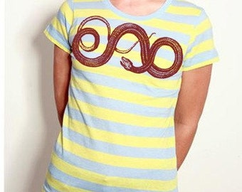 Red Snake Striped Crew Size Large