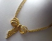 Sale 12.00 - Orig. 24.00 - Repurposed Vintage Brass Bow Necklace - Ships Free