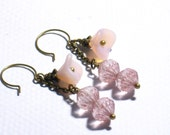 Vintage Etched Glass Bead and Flower Earrings - Free Ship - by It's All About Vintage