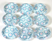 Marble Magnets or Push Pins Set -  Little Blue and Pink Dot Flowers
