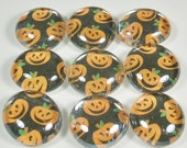 Marble Magnets or Push Pins Set - Halloween Pumpkin Jack O' Lantern