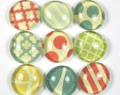 Glass Marble Magnets or Push Pins Set - Primary Colors Geometric Patterns