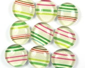 Marble Magnets or Push Pins Set - Candy Christmas Stripe- Seen in HGTV Magazine